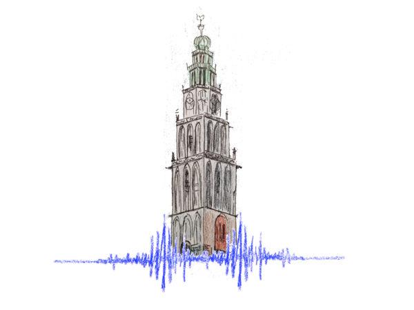 illustratie aardbeving groningen Martinitoren