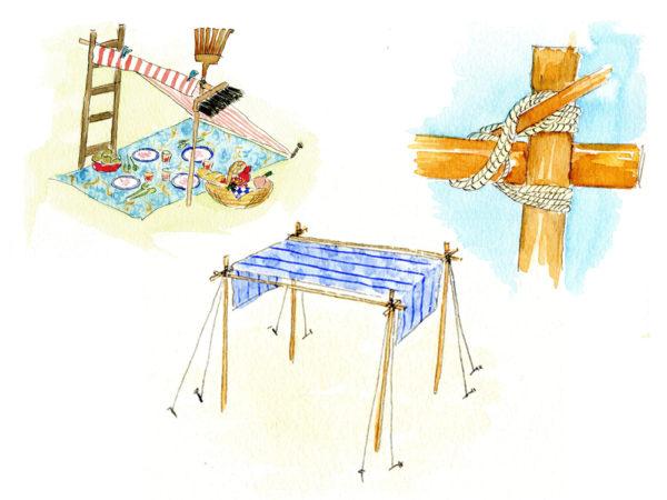 Illustraties  tentje maken uit 'Met lekkerbekkies aan tafel'
