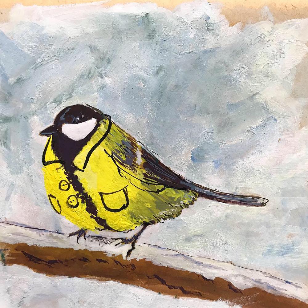 Koolmees, winterjas, illustratie, geschilderd, acrylverf